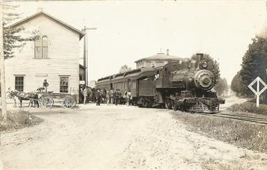 Train and Franklin House Hotel in Macyville area of Sodus Point