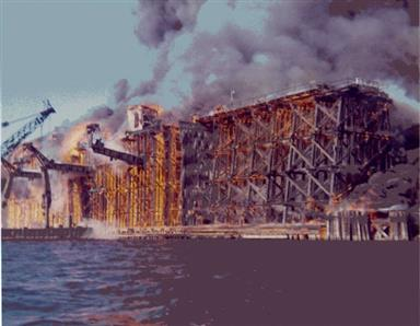 Trestle burns at Sodus Point